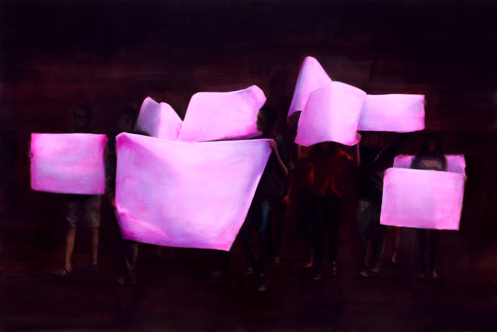 »Protest«, 2018, Oil on canvas, 182 x 272 cm